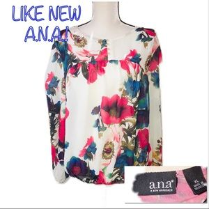 • A.N.A. | LIKE NEW | Floral Sheer Blouse •